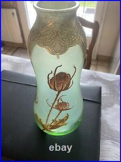 Vase verre émaillé ART-NOUVEAU LEGRAS MONTJOYE. 31 Cm